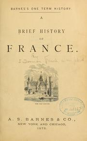Cover of: A brief history of France