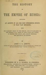 Cover of: The history of the empire of Russia