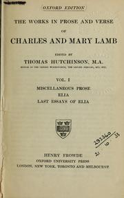 Cover of: The works in prose and verse of Charles and Mary Lamb