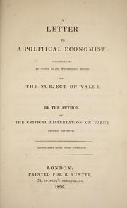 Cover of: A letter to a political economist