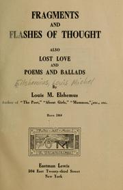 Cover of: Fragments and flashes of thought