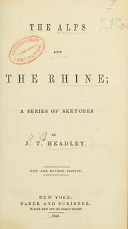 Cover of: The Alps and the Rhine