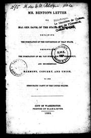 Cover of: Mr. Benton's letter to Maj. Gen. Davis of the state of Mississippi