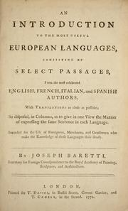 Cover of: An introduction to the most useful European languages ...