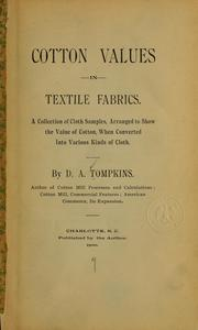 Cover of: Cotton values in textile fabrics