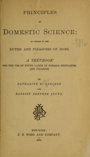 Cover of: Principles of domestic science