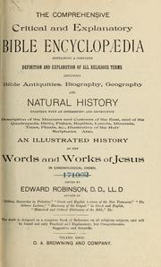 Cover of: The comprehensive critical and explanatory Bible encyclopaedia : containing a complete definition and explanation of all religious terms : also, an illustrated history of the words and works of Jesus in chronological order