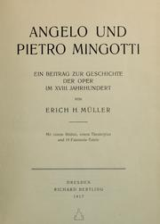 Cover of: Angelo und Pietro Mingotti