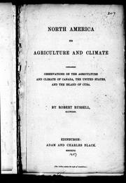 Cover of: North America its agriculture and climate