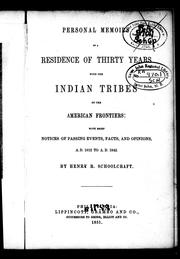 Cover of: Personal memoirs of a residence of thirty years with the Indian tribes on the American frontiers