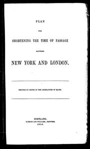 Cover of: Plan for shortening the time of passage between New York and London