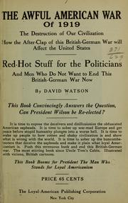 Cover of: The awful American war of 1919
