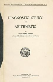 Cover of: Diagnostic study in arithmetic