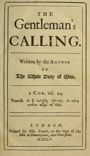 Cover of: The gentleman's calling