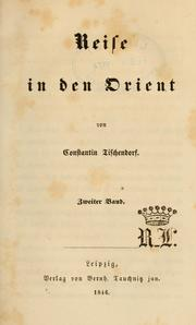 Cover of: Reise in den Orient