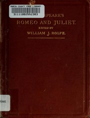 Cover of: Shakespeare's tragedy of Romeo and Juliet: ed., with notes