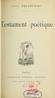 Cover of: Testament poétique