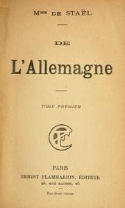 Cover of: De l'Allemagne