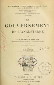Cover of: Le gouvernement de l'Angleterre