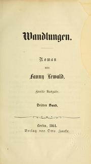 Cover of: Wandlungen
