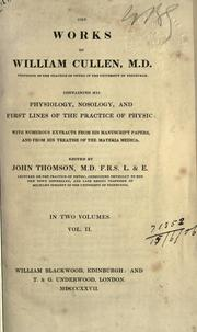 Cover of: The Works of William Cullen, M.D. Vol. II
