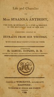 Cover of: The Life and character of Miss Susanna Anthony