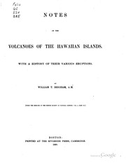 Cover of: Notes on the volcanoes of the Hawaiian Islands