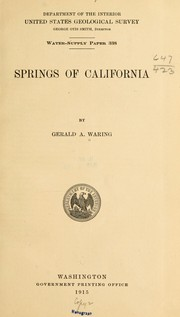 Cover of: Springs of California