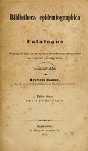 Cover of: Bibliotheca epidemiographica