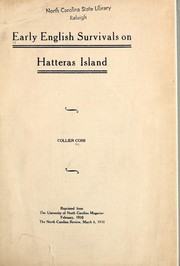 Cover of: Early English survivals on Hatteras Island