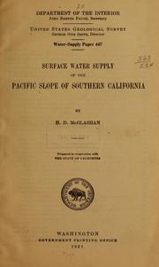 Cover of: Surface water supply of the Pacific slope of southern California