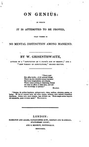 Cover of: On Genius: In Which It Is Attempted to Be Proved that There Is No Mental Distinction Among Mankind