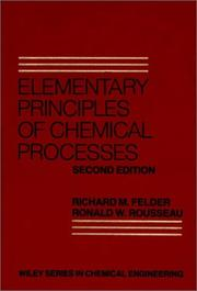 Cover of: Elementary principles of chemical processes