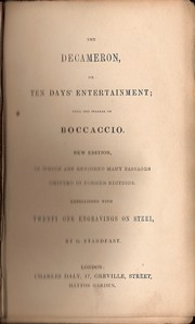 Cover of: The Decameron, or Ten days entertainment