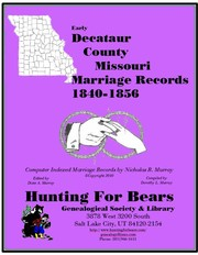 Cover of: Decataur Co Missouri Marriages 1840-1856
