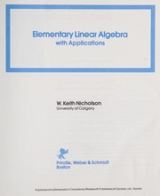 Cover of: Elementary linear algebra, with applications