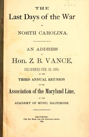 Cover of: The last days of the War in North Carolina
