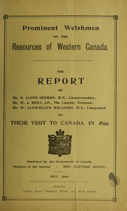 Cover of: Prominent Welshmen on the resources of Western Canada