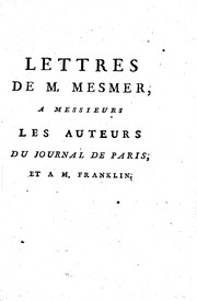 Cover of: Lettres de M, [!] Mesmer