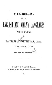 Cover of: Vocabulary of the English and Malay languages