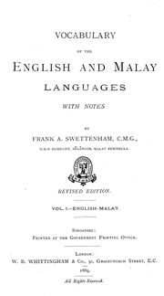 Cover of: A vocabulary of the English and Malay languages