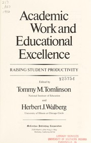 Cover of: Academic work and educational excellence