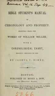 Cover of: The Bible student's manual of chronology and prophecy