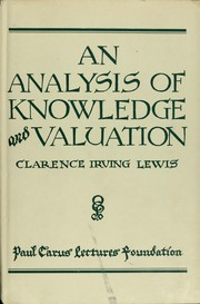 Cover of: An analysis of knowledge and valuation