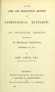 Cover of: On the aims and philosophic method of pathological research