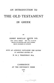 Cover of: An introduction to the Old Testament in Greek