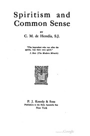 Cover of: Spiritism And Common Sense