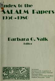 Cover of: Index to the SALALM papers, 1956-1980