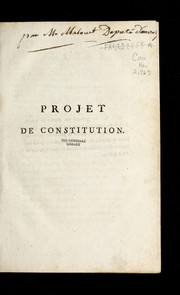 Cover of: Projet de constitution