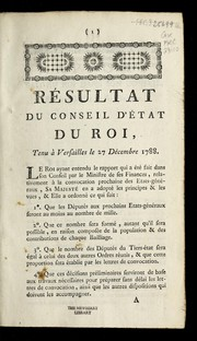 Cover of: Re sultat du Conseil d'e tat du roi